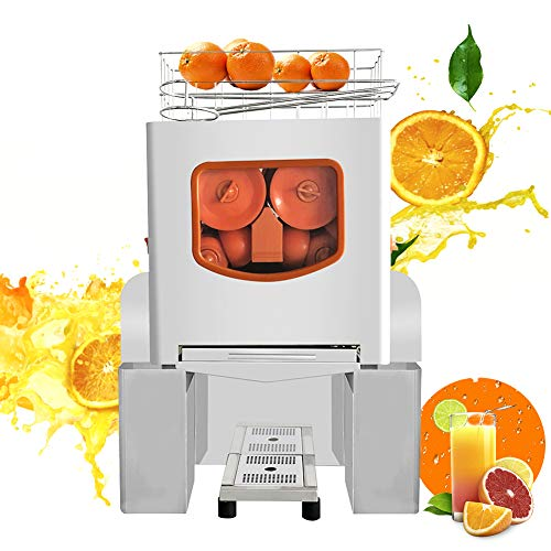 Commercial Orange Juicer, Heavy Duty Automatic Citrus Juice Machine Fast Residue Juice Separation, 20-30 Oranges Per Minute, With Pull-Out Filter Box, with Bins, For Orange Juice, Citrus, Lemon (B)…