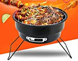 ColourTree Folding Simple Round Barbecue BBQ Charcoal Grill Black - Lightweight, Foldable - For Camping, Picnic, Outdoor Travel - 10.5'' x 10''