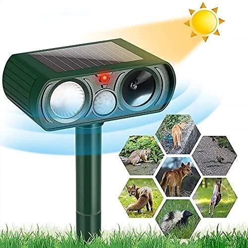Perseguidor de perros, disuasión animal con sensor de movimiento y luces intermitentes al aire libre de control solar repelente de controlarja jardín jardín yarda repelente perros gatos gatos pájaros