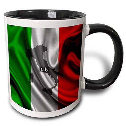 Queen54ferna - Taza, diseño de bandera italiana, color negro