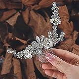 Zoestar Sposa Capelli da sposa Pettini Copricapo in cristallo argento Accessori per capelli da sposa fiore per donne e ragazze
