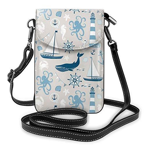 Bolso ligero de piel sintética para teléfono celular, faro de velero, conchas de pescado, pulpo, pequeñas bolsas cruzadas, bolsa de hombro, cartera para mujer