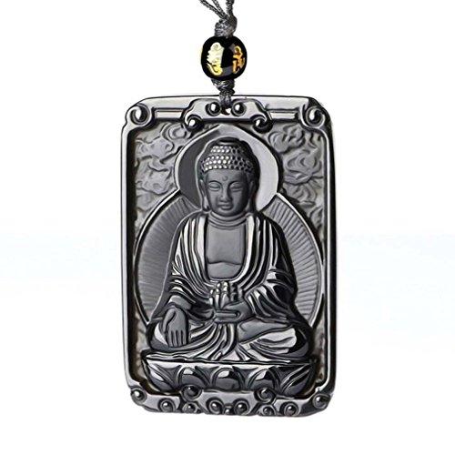 clin-yy Hand Carved Natural Genuine Obsidian Amitabha Sakyamuni Bodhisattva Buddha Necklace Amulet Necklace
