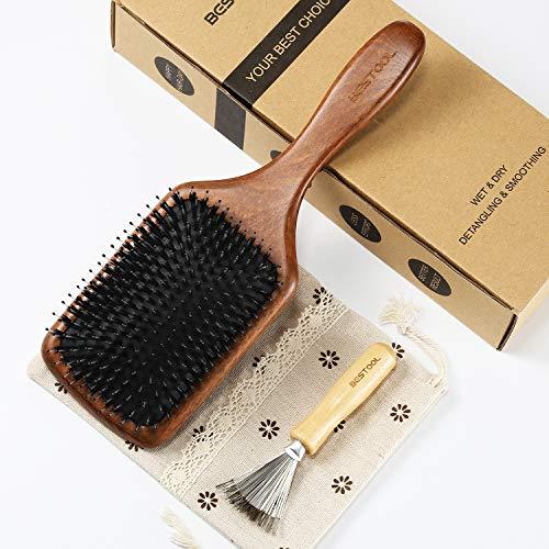 BESTOOL Haarbürste, Wildschweinborsten Bürste mit Nylonstiften für Damen Herren Kinder, Paddle Detangler Bürste zur Massieren, Entwirren, Glätten, geeignet für alle Haartypen