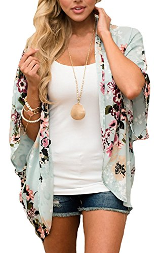 Hibluco Women's Beach Cover up Swimsuit Kimono Cardigan with Bohemian Floral Print Large