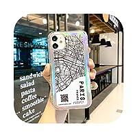 かわいい航空券USAシティソウルパリムーンラベルマップケースiPhone11 12 Pro XRXSマックス78プラスINSレーザーペーパーQRコードカバー -DTPAR-For iPhone 6 6S Plus