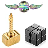Cool Fidgets Spinners Toys Pack, Mjolnir Fidget Spinner Gifts for Kids Adults, Metal Finger Hand Spinner, Fidgit Infinity Cube Block, Anti Anxiety Toys, ADHD EDC Stress Relief Figet Toy Set(4 Pack)