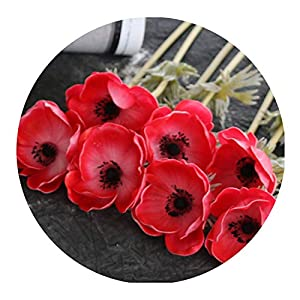 Real Touch Artificial Anemone Flowers Silk Flores Artificiales for Wedding Holding Fake Flowers Home Garden Decorative Wreath,Red