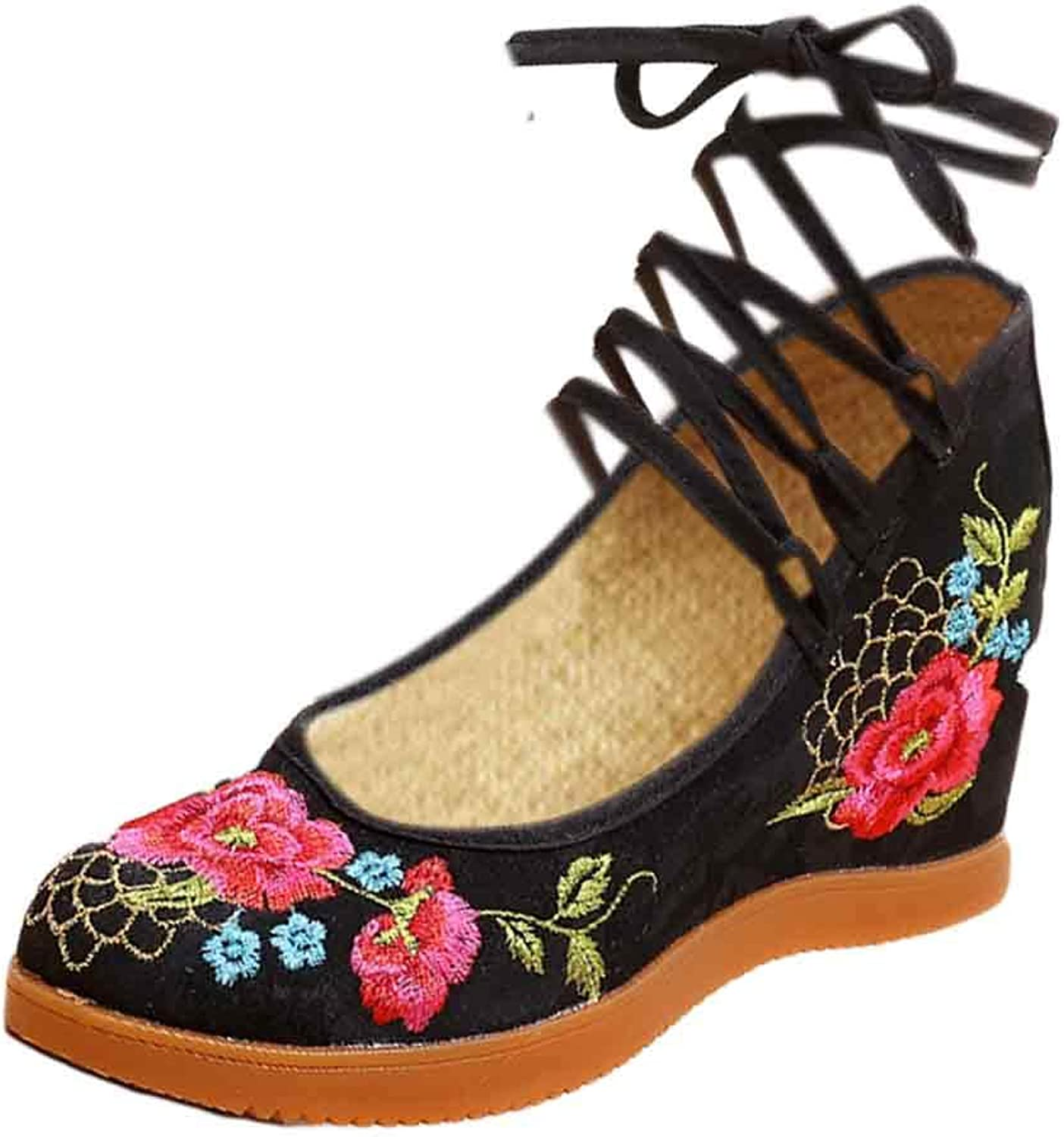 Aiweijia Ladies Retro Flat Solid color Casual Dance Wedge Embroidered shoes