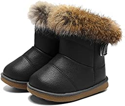 CIOR Toddler Snow Boots for Girls Boys Winter Warm Kids Button Boots Outdoor Shoes TXA-88-Black-27-2019
