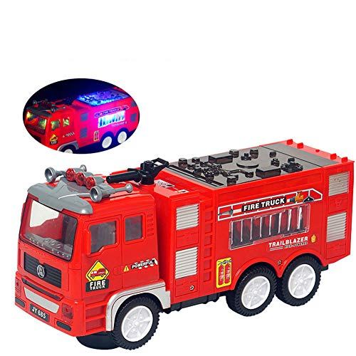 MEMOVAN Electric Fire Truck Toy, Stunning Truck Toys with Flashing 4D Lights and Emergency Siren Sounds, Bump N Go Firetruck, Automatic Steering Fire Rescue Engine Car Toy Play Vehicle for Boys Kids