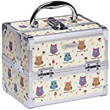Joligrace Makeup Train Case Small Jewelry Box Mini for Girls Kids Hair Accessories Cosmetic Storage Trays with Mirror and Lock Owl Silver