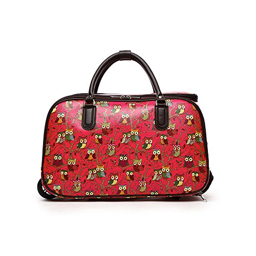 LeahWard Small Size Women's Holdall Luggage Ladies Designer Canvas or PU Leather Travel Bags with Wheel Suitcase Handbags 03 (Faux Leather OWL Fuchsia)