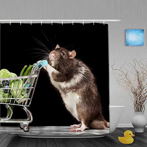 NA Dekoration Duschvorhang Spaß Ratte Einkaufen im Supermarkt Kreative Tiermaus Grün Gemüse Schwarz Badvorhänge Wasserdichter Stoff Badezimmer Dekor Set Mit Haken