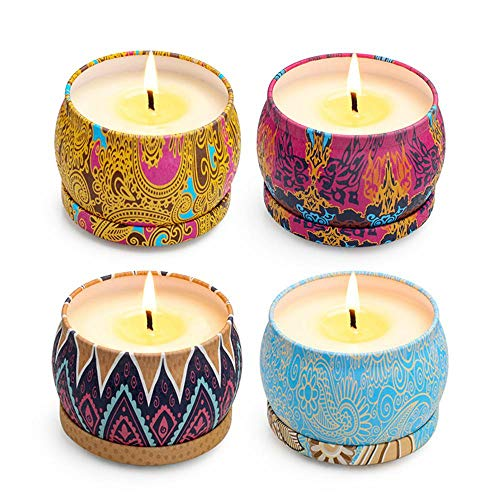Scented Candles Gift Set, DokFin 4 Pcs Natural Soy Wax Portable Travel Candle in Tins Set for Women, Spring, Lemon, Lavender and Mediterranean Fig, for Stress Relief and Aromatherapy (4 X 4.4 Oz)