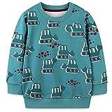 Toddler Boy's Crewneck Sweatshirt Clothes,Long Sleeve Shirt Top Outfit Green Bulldozer 5t