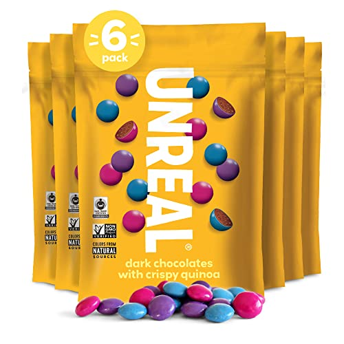 UNREAL Dark Chocolate & Crispy Quinoa Gems | Certified Vegan Fair Trade, Non-GMO | Made with Gluten Free Ingredients and Colors from Nature | No Sugar Alcohols or Soy | 6 Bags