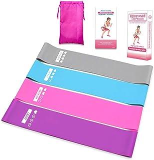 Latex tensile band Anti-Slip fitness non-slip elastic band Yoga resistance band, non-slip squat belt set (4 pieces)