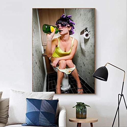 UIOLK Rendimiento Arte Moda Fumar Chica rebelde Carteles escandinavos e Impresiones en el Lienzo de Fumar Mural para Sala de Estar