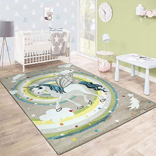 Paco Home Kinderteppich Kinderzimmer Fliegendes Einhorn Regenbogen Sterne Mädchen In Beige,...