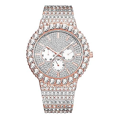 KLFJFD Reloj De Cuarzo para Hombre A Prueba De Agua Multifunción De Hip-Hop De Diamantes De Imitación De Lujo Ligero Reloj De Regalo De Moda Casual De Moda