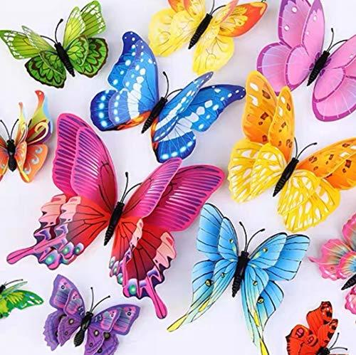 WandSticker4U®- 24er hochwertige 3D SCHMETTERLINGE Doppelflügel & Magnet I Butterfly Dekoration Fenster Möbel Basteln I Deko für Wohnzimmer Kinderzimmer Küche Wand Kühlschrank (bunt)