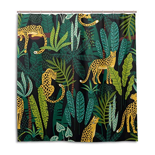 SENNSEE Dschungel Leopard Tier Duschvorhang für Badezimmer 167,6 x 182,9 cm schimmelresistent wasserdicht Badvorhang mit 12 Haken Home Decor Polyestergewebe