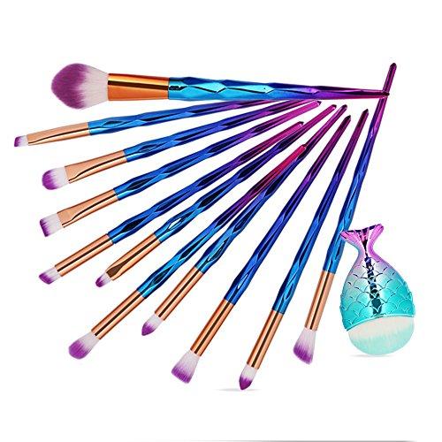 Yesmile Pinceaux De Maquillage 12Pcs Make Up Fondation Sourcils Eyeliner Fard à Joues CosméTiques Correcteur Pinceaux Maquillage Brosses (C,