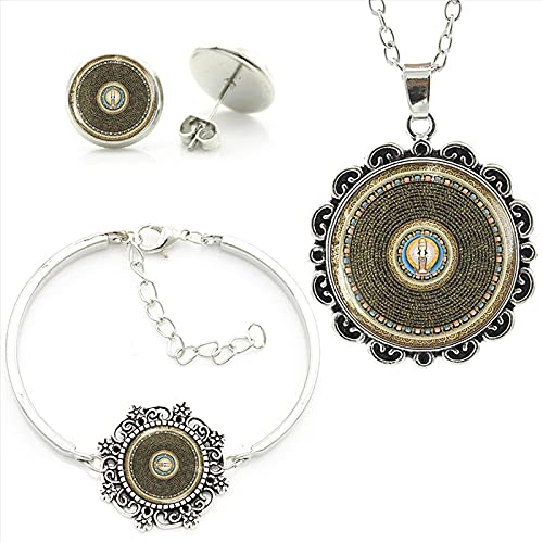 CLEARNICE Mujeres Hechas A Mano Mandala Geometría Sagrada Art Picture Collar Pendientes Conjuntos De Pulseras Conjuntos De Joyas Budistas Longitud del Collar Aproximadamente 55 Cm + 5 Cm
