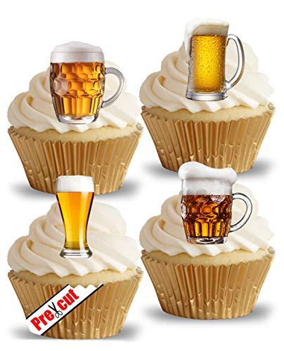 Vorgeschnittene Biergläser Pint Lager Essbare Oblaten / Reispapier Cupcake Kuchen Dessert Topper Geburtstag Party Vatertag Dekorationen