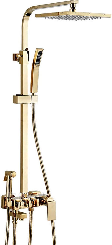 Retro Duschsystem, Duschsule mit Handbrause und Brause, Goldener Viergang-Brausebatterie