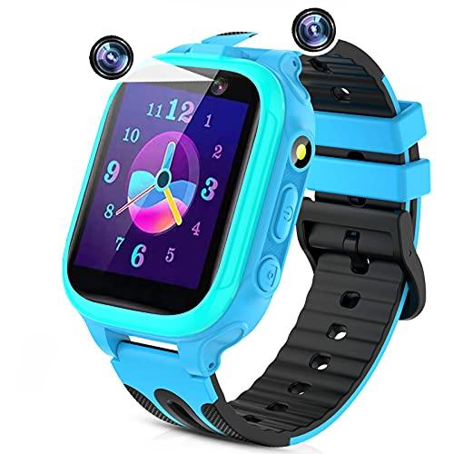 Reloj Inteligente Niños,smartwatch para Niña y Niño con Llamada 14 Juegos cámaras duales Alarma Reproductor de música Linterna Pantalla táctil,Regalo para Niños de 3-12 años