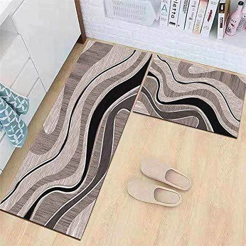 OPLJ Küchenmatte Anti-Rutsch-Türmatte Modernes Wohnzimmer Balkon Badezimmer Geometrisch bedruckter Teppich Waschbare Fußmatte A10 50x80cm