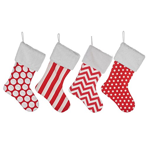 4 Burlap Christmas Stockings Decoration - 4 Pcs Set Print & Fur Collar Fireplace Decor Large