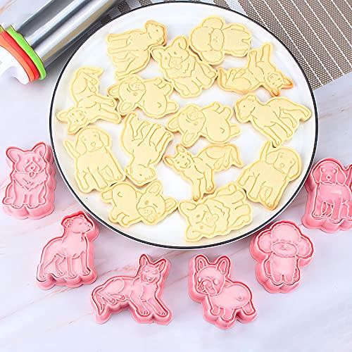 GS - 6 moldes para galletas con forma de perro, 3D, para hacer galletas, galletas y galletas, de plástico, para decoración de tartas