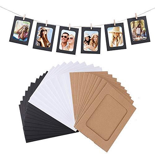 VEESUN Papier-Bilderrahmen, 30 Stück zum Selberbasteln, zum Aufhängen, Dekoration Clips und 3 Hanf-Seile Set für 11 x 11,5 cm Bilder Hauptwanddekor, MEHRWEG