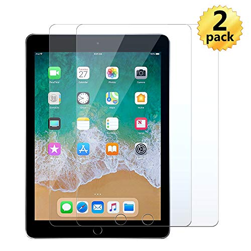 [2-Pack] New iPad9.7ScreenProtector(2018&2017)Compatible with Apple iPad 9.7'/Air1 (5th Gen)/Air2(6th Gen)/Pro9.7 / A1822/A1823/A1893/1894/1954High Definition Tempered Glass