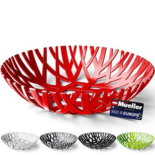 Mueller Fruit Basket, Decorative Fruit Bowl, Fruit and Vegetables Holder for Counters, Kitchen, Countertop, Home Decor, European Made, Red