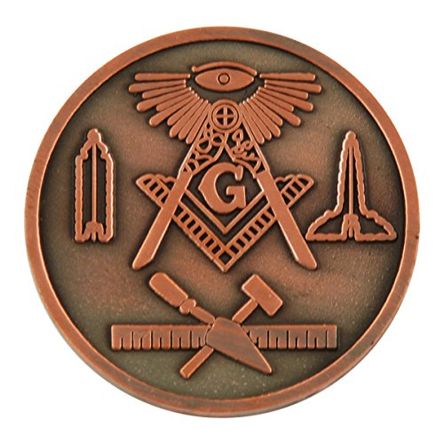 All Seeing Eye Square & Compass Working Tools Masonic Coin - [Copper][1 1/4' Diameter]