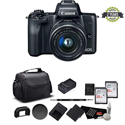 Canon EOS M50 Mirrorless Digital Camera with 15-45mm Lens and 4K Video 2680C011 Bundle - International Model w/ 2 Year Seller Warranty