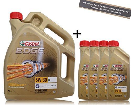 Castrol Edge Fluid Titanium 5W-30 LL motorolie, 4 x 1 l + 5 l = 9 liter