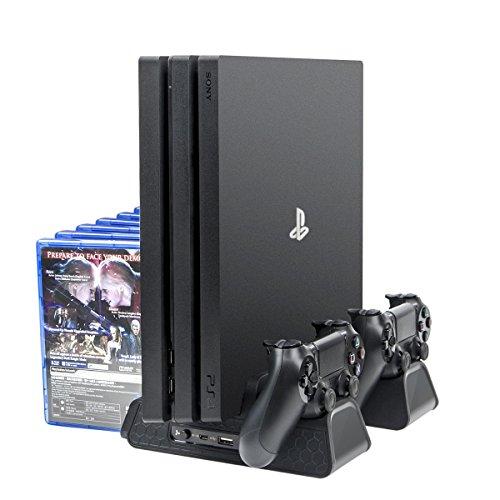 Megadream - Supporto di raffreddamento con doppia porta USB, 3 ventole di raffreddamento con espansione Hub USB per controller PS4/PS4 Slim/PS4 Pro