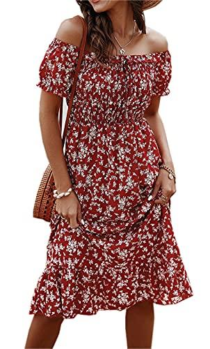 Damen Sommerkleid Schulterfrei Kurzarm Strandkleid Blumenmuster Elegant A-Linie Freizeitkleid Sexy Rückenfrei Knielang Kleider Boho Midikleid Cocktailkleid (42, 3025 Rotwein, x_l)