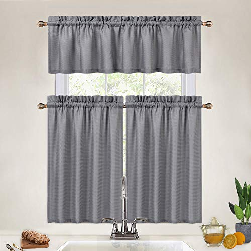 Grey Kitchen Curtains 36 Inch Length Set, 3 Pcs Waffle Weave Short Tier Curtains and Valance Set for Cafe Bathroom Window Curtains, Grey