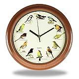 Monsterzeug Reloj de pared con 12 sonidos de pájaros, funciona con pilas, con sonidos de aves, para casa