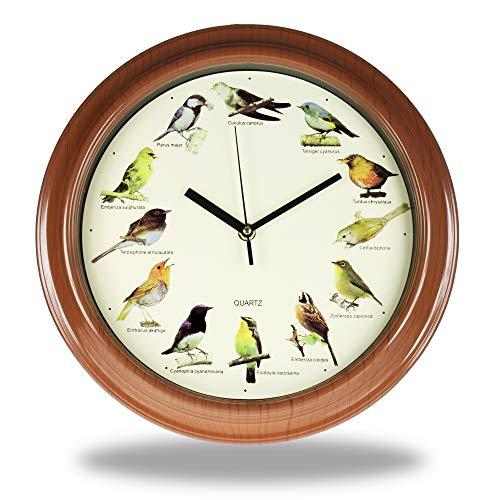 Monsterzeug Wanduhr mit 12 verschiedenen Vogelstimmen, Batteriebetriebene Uhr mit Vogelgeräuschen, Vogelgesang-Uhr für Zuhause