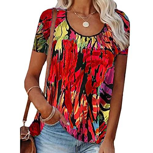 Camiseta Suelta de Manga Corta con Cuello Redondo y Estampado Informal en Color contrastante para Mujer
