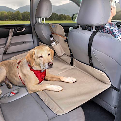 Kurgo Séparation et prolongement de banquette arrière de voiture pour chien, Adapté à la plupart des voitures et SUV, Pour chien de max. 45 kg, Résistant à l'eau, Robuste, Réversible, Noir/Beige