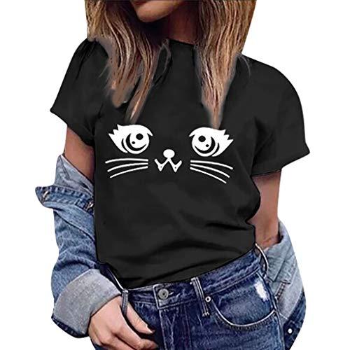 Covermason Femme Tee Top Grande Taille Été Chic Col Rond Manche Courte T-Shirt Vogue Mignon Imprimer Chemisier Blouse Élégant Mode Basique Hauts Tops Décontractée Tee