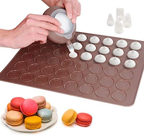 XIUNPR-6 Macaron Making Set 48 Kapazität Backblech Antihaft-Kuchen-Backgeschirr mit Dekorationsstift und 4 Düsen für Macaron, Cupcake, Dessert